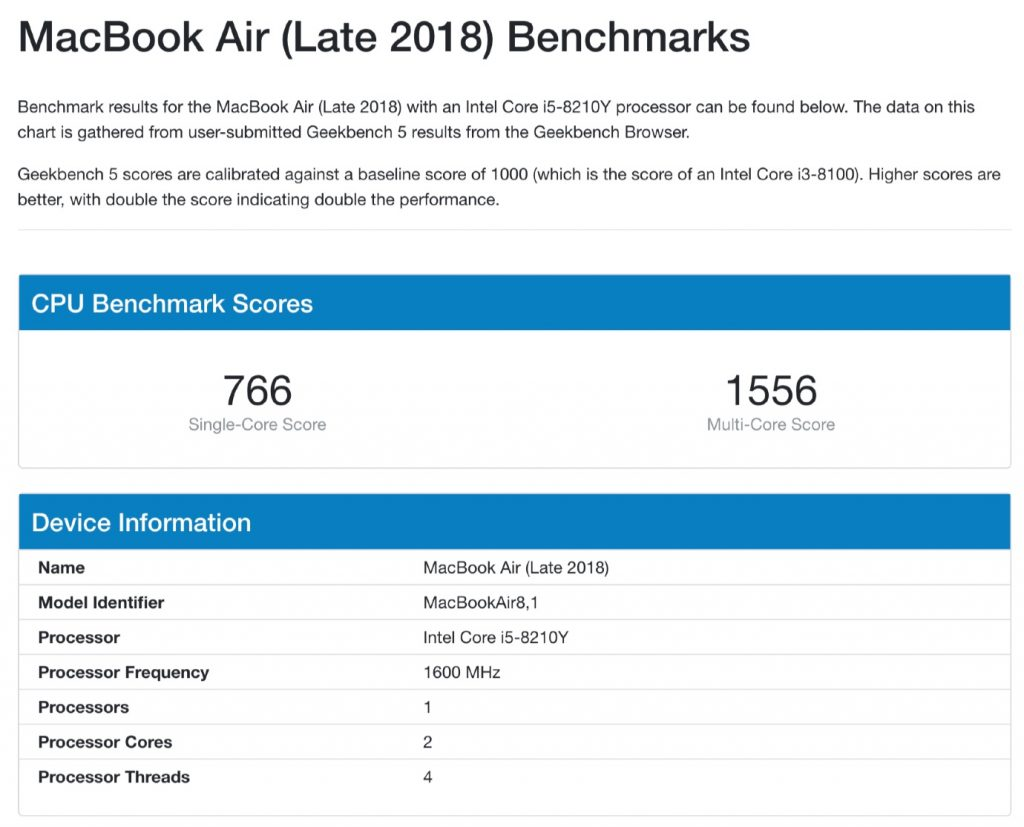 MacBook Air (Late 2018) Benchmarks